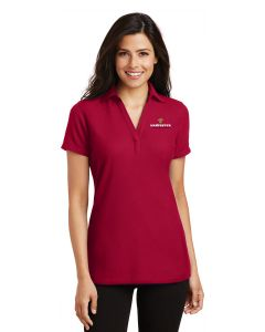 Ladies Silk Touch™ Y-Neck Polo-Red-Small