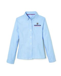 FT Girls Long Sleeve Oxford Blouse with Princess Seams-Oxford Blue-Youth S 6