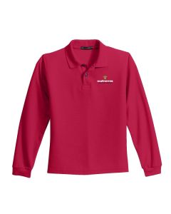Men's Silk Touch™ Long Sleeve Polo-Red-2-Xlarge